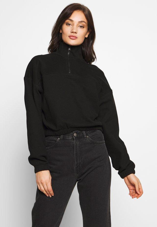 LOU ZIP FRONT - Sweater - black