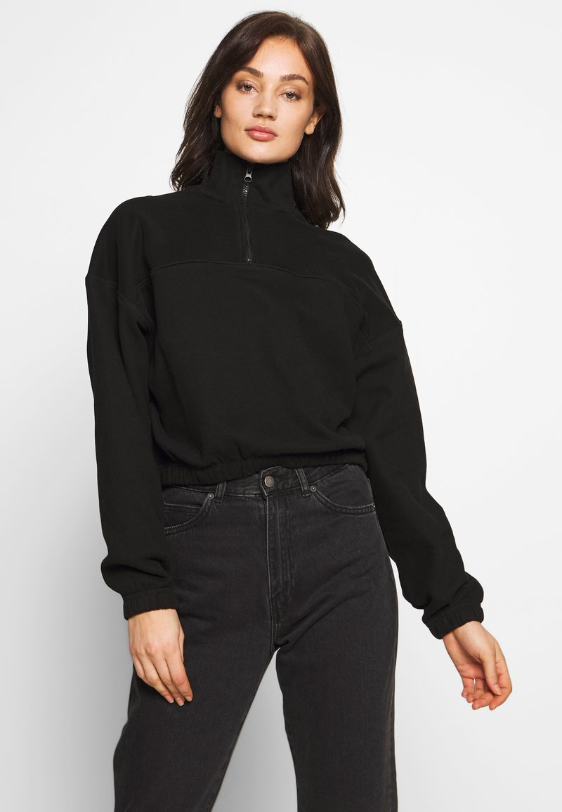 Weekday - LOU ZIP FRONT - Sweatshirt - black