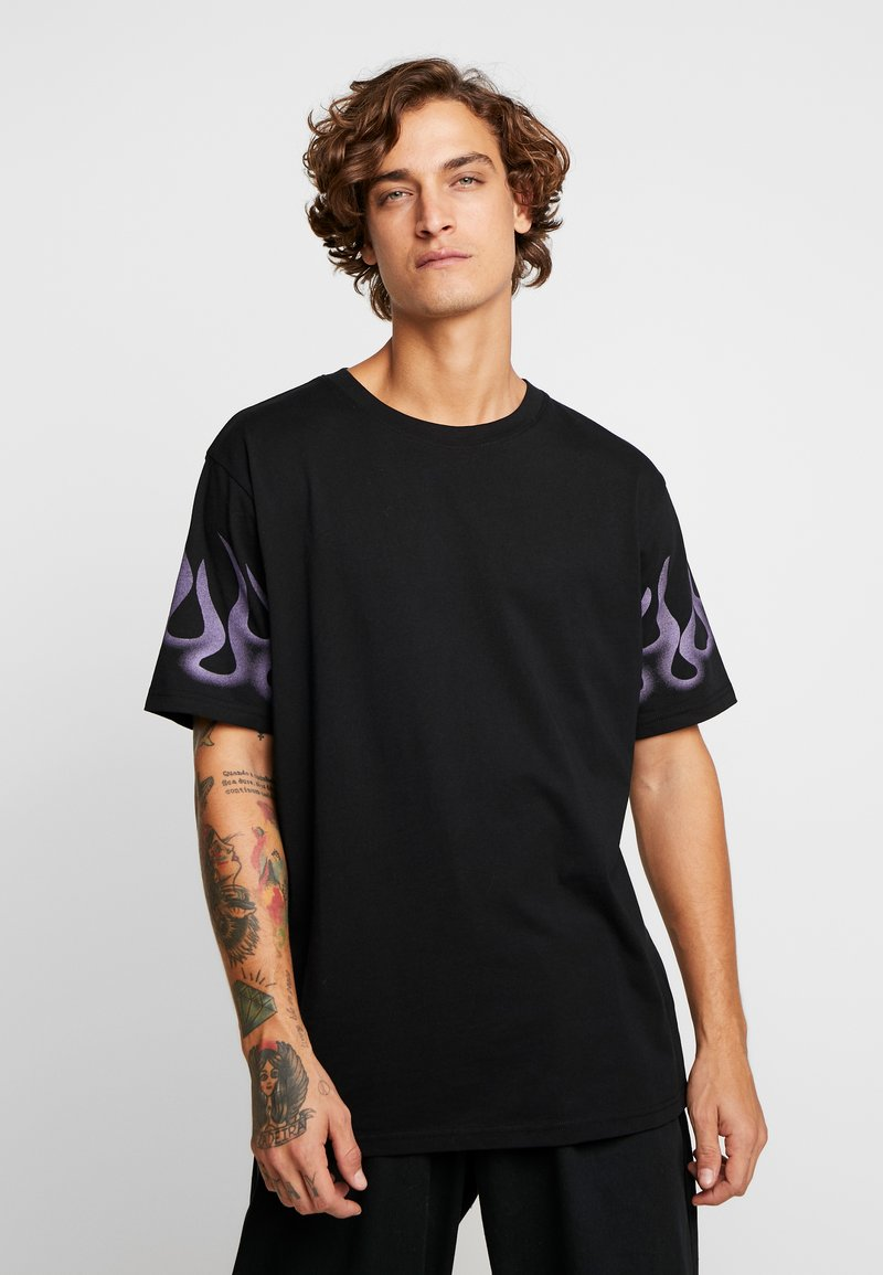 Weekday - FRANK SLEEVE FLAME - T-shirt basique - black