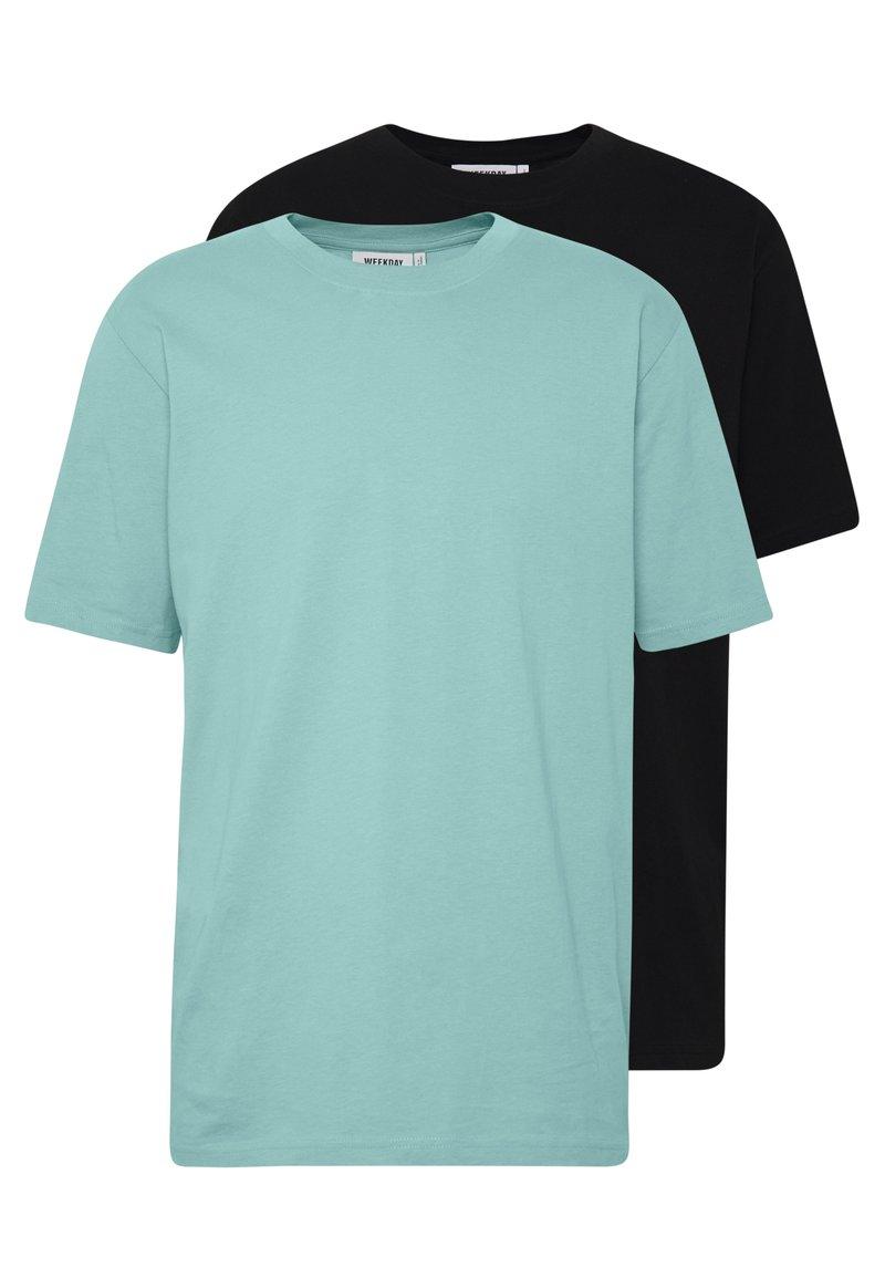 Weekday - 2 PACK FRANK - Basic T-shirt - black/turqoiuse
