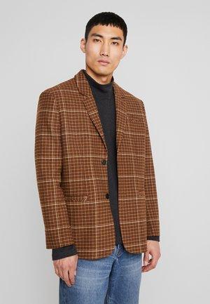 FILIP CHECKED SUIT JACKET - blazer - dark brown