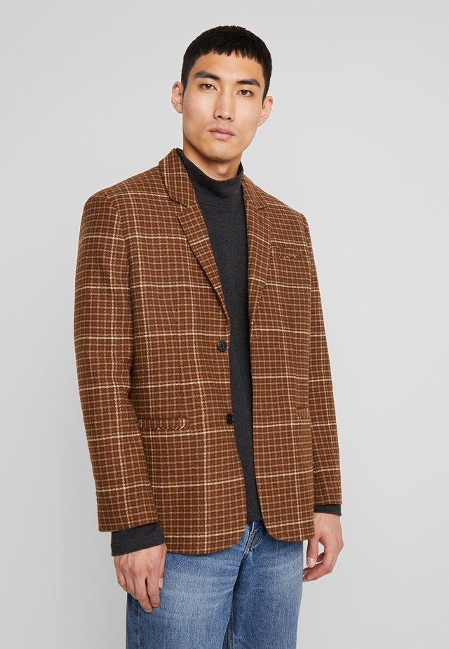 FILIP CHECKED SUIT JACKET - Dressjakke - dark brown