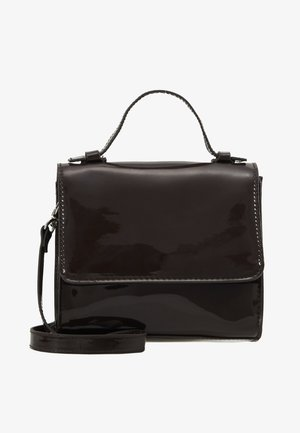 MINI PATENT HANDBAG - Bolso de mano - dark brown