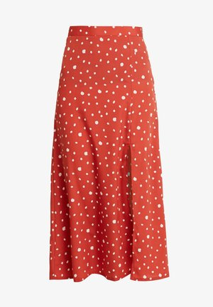 MIDI SKIRT WITH FRONT SPLIT - Jupe trapèze - rust/white