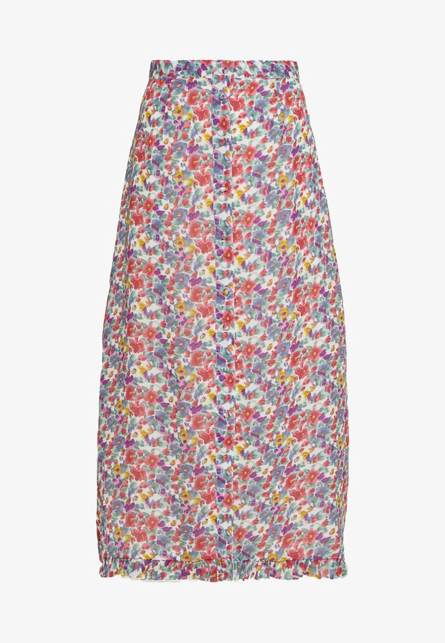 BUTTON FRONT RUFFLE HEM MIDAXI SKIRT - A-line skjørt - multi-coloured