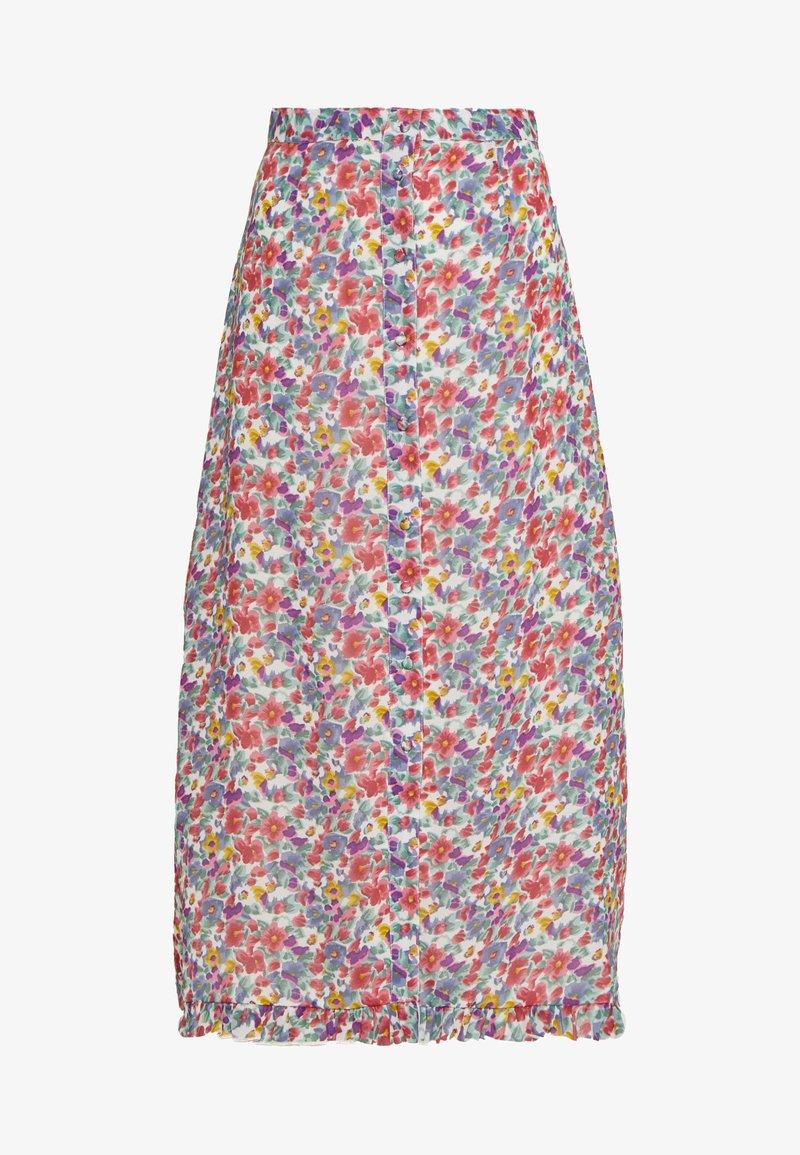 Wednesday's Girl - BUTTON FRONT RUFFLE HEM MIDAXI SKIRT - A-line skjørt - multi-coloured