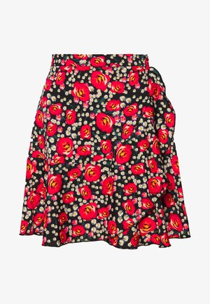RUFFLE SKIRT - Miniskjørt - black/red/green