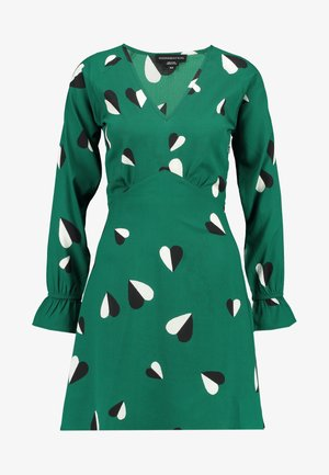 RUFFLE CUFF V-NECK MINI TEA DRESS - Denní šaty - green