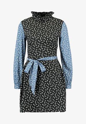RUFFLE HIGH NECK MINI DRESS - Robe d'été - black/blue/white