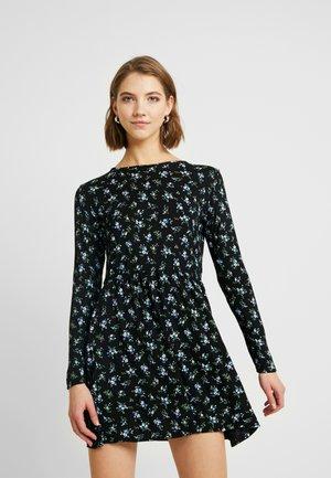 LONG SLEEVE GATHERED WAIST MINI SMOCK DRESS - Jersey dress - black/blue/white