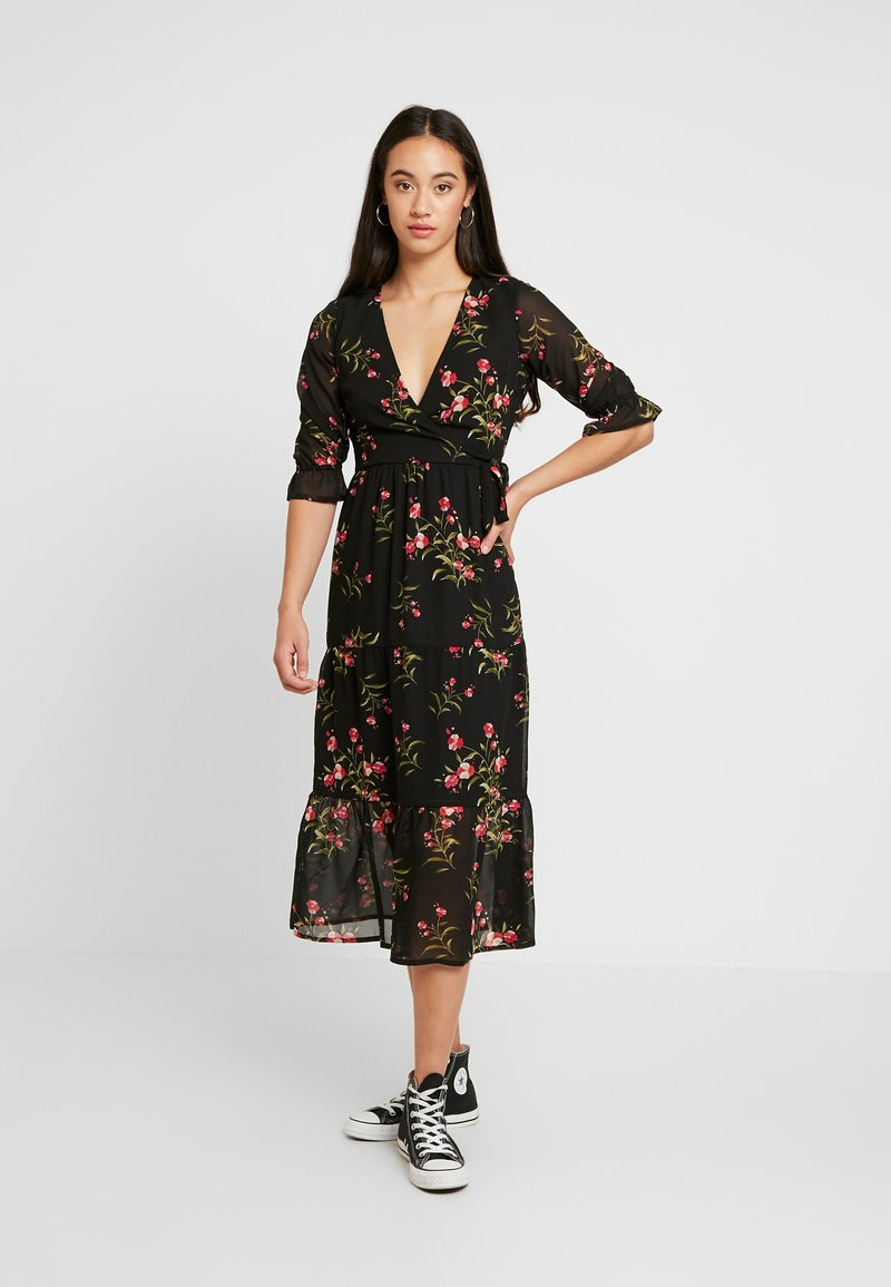 Wednesday's Girl - RUFFLE CUFF 3/4 LENGTH SLEEVE WRAP FRONT TIERED MIDAXI DRESS - Vestito estivo - black/pink