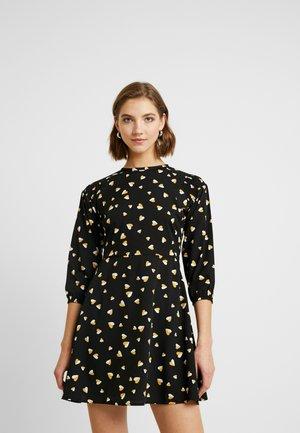 SHIRRED DETAIL MINI DRESS - Vestido informal - black