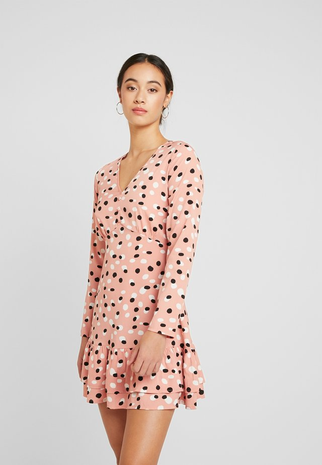 RUFFLE HEM MINI TEA DRESS - Day dress - pink