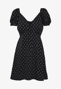 Wednesday's Girl - TIE FRONT SWEETHEART NECKLINE MINI DRESS - Vapaa-ajan mekko - black/white - 4