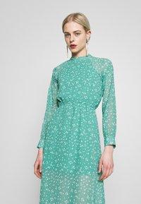 Wednesday's Girl - HIGH NECK ELASTICATED WAIST RAGLAN SLEEVE DRESS - Day dress - de-ja-vu green - 3