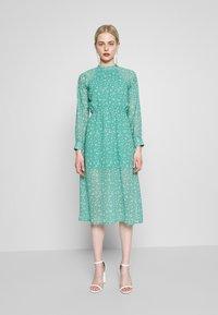 Wednesday's Girl - HIGH NECK ELASTICATED WAIST RAGLAN SLEEVE DRESS - Day dress - de-ja-vu green - 0