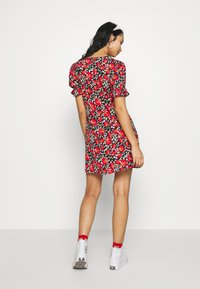 Wednesday's Girl - RUFFLE CUFF PUFF SLEEVE V NECK MINI TEA DRESS - Day dress - black/red/green - 2