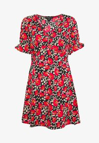 Wednesday's Girl - RUFFLE CUFF PUFF SLEEVE V NECK MINI TEA DRESS - Day dress - black/red/green
