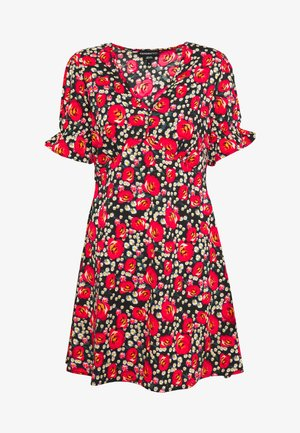 RUFFLE CUFF PUFF SLEEVE V NECK MINI TEA DRESS - Kjole - black/red/green