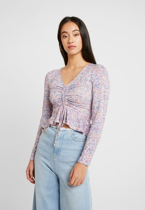 DRAWSTRING FRONT FLARED LONG SLEEVE TOP - T-shirt à manches longues - rose