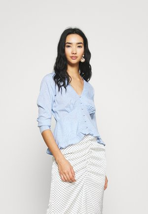 BUTTON FRONT RUFFLE HEM TEA - Blouse - spiral heart blue