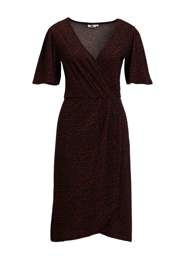 MET DIERENPRINT - Vestido informal - burgundy red