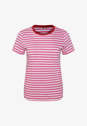 WE FASHION DAMES GESTREEPT T-SHIRT - T-shirt con stampa - pink