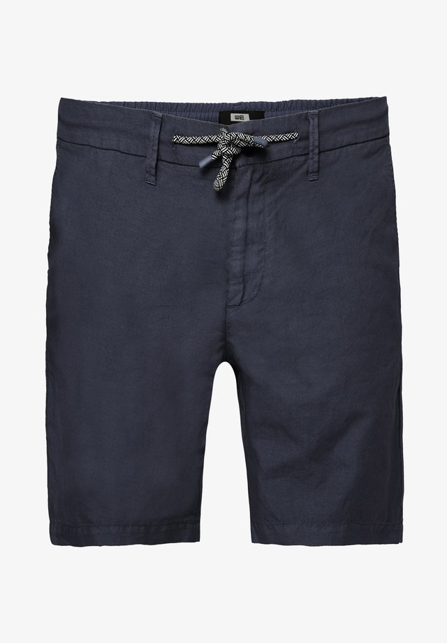 WE FASHION HEREN REGULAR FIT CHINOSHORT VAN LINNENMIX - Shorts - navy blue