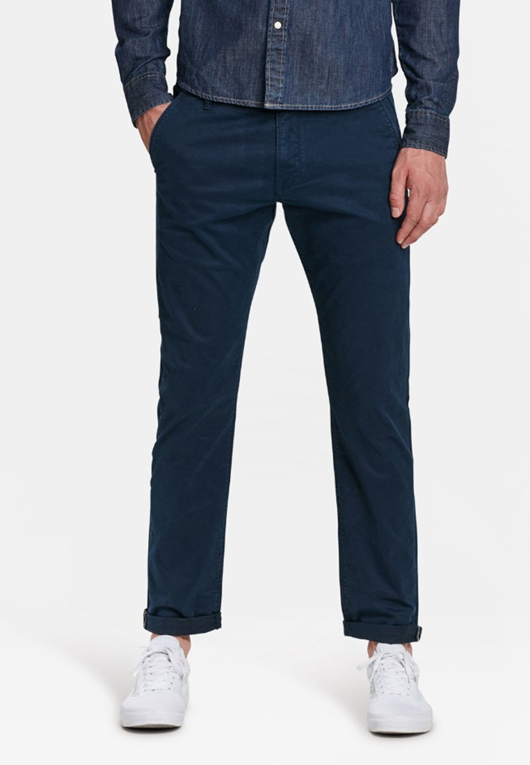 WE Fashion - MIT TAPERED LEG - Chinos - navy blue