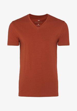 WE FASHION HERREN-T-SHIRT MIT V-AUSSCHNITT - T-Shirt basic - rust brown