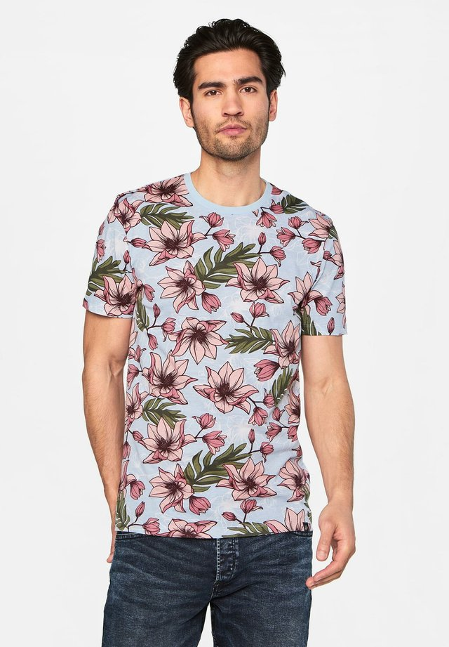 WE FASHION HERREN-T-SHIRT MIT BLUMENMUSTER - T-shirt print - pink