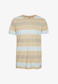 WE Fashion - WE FASHION HERREN-T-SHIRT AUS GESTREIFTEM LEINEN-MIX - Print T-shirt - beige - 4