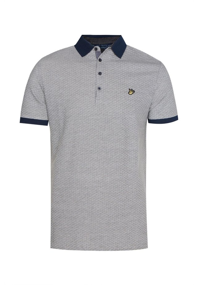 WE FASHION HEREN JACQUARDGEBREIDE POLO - Polo shirt - dark blue