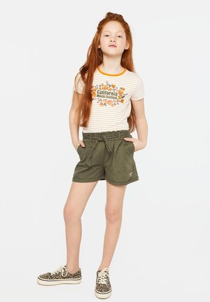 WE FASHION MEISJES SHORT VAN LINNENMIX - Shorts - army green