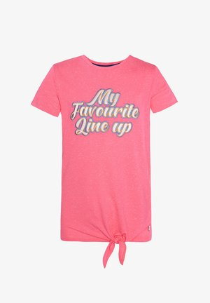 WE FASHION MÄDCHEN-T-SHIRT MIT APPLIZIERTEM SCHRIFTZUG - Print T-shirt - pink