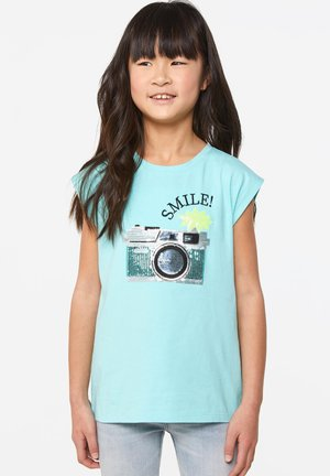 WE FASHION MEISJES T-SHIRT MET PAILLETTEN - T-shirt imprimé - light blue