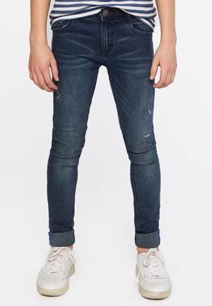 WE FASHION JONGENS ULTRA SKINNY JEANS MET DISTRESSED DETAILS - Jeans Skinny Fit - dark blue