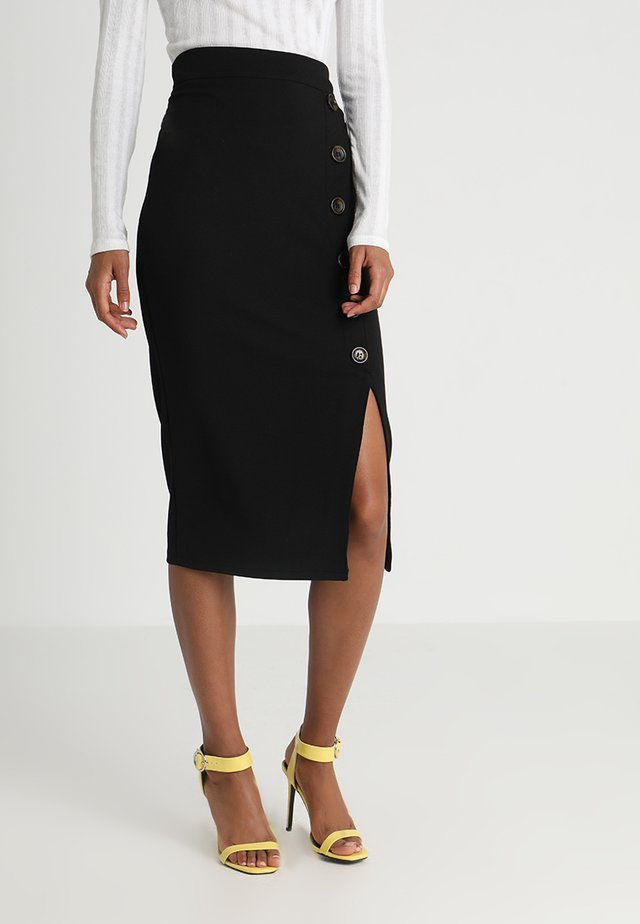 TORTOISE BUTTON SKIRT - Kokerrok - black