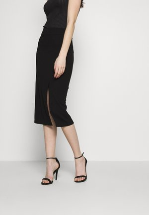 PLAIN SKIRT WITH SLIT - Jupe crayon - black
