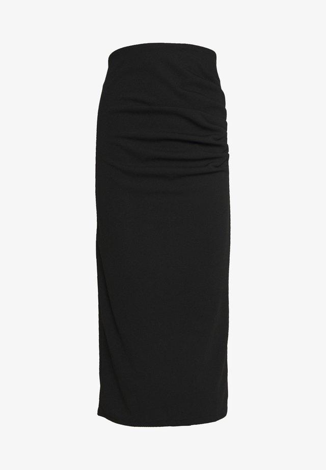 RUCHED MIDI SKIRT - Blyantnederdel / pencil skirts - black