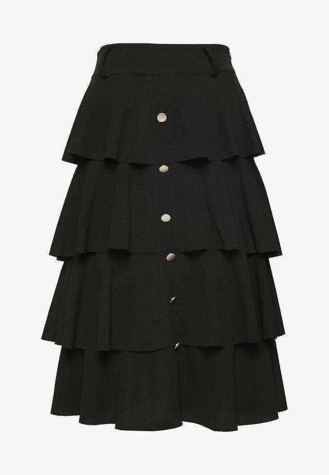 FRILL LAYERED SKIRT - Áčková sukně - black