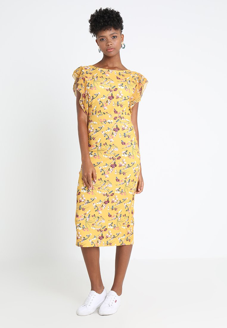 WAL G. - FLUTTER SLEEVE FITTED DRESS  - Etuikleid - mustard