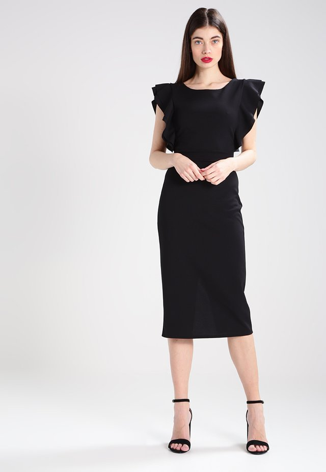 FLUTTER SLEEVE FITTED DRESS  - Etui-jurk - black