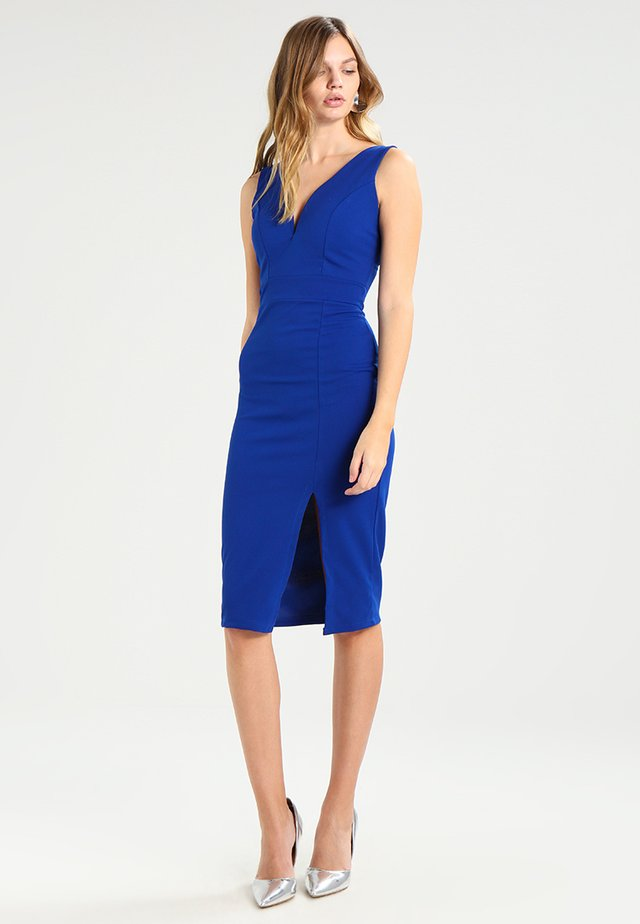 V NECK MIDI  - Pouzdrové šaty - dark cobalt blue