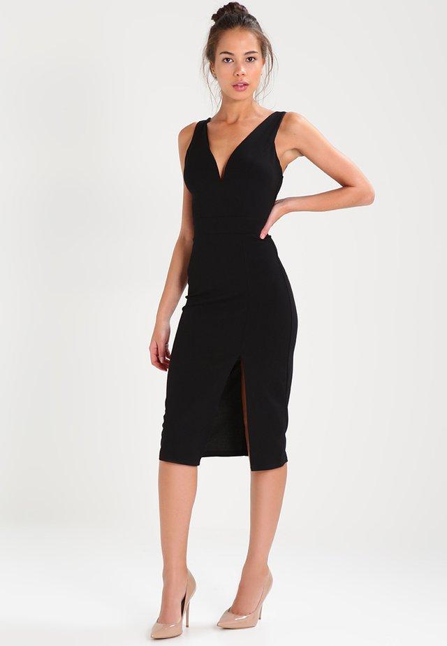 V NECK MIDI  - Pouzdrové šaty - black