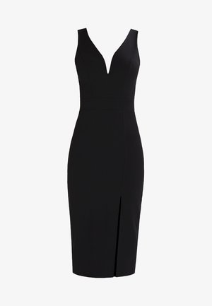 V NECK MIDI  - Etuikleid - black