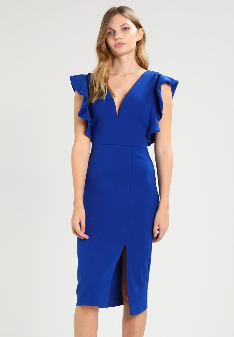 WAL G. - V NECK FRILL SLEEVE MIDI  - Shift dress - dark cobalt blue