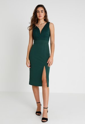 V NECK MIDI - Shift dress - green