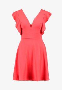 WAL G. - FRILL PLUNGE SKATER DRESS - Sukienka z dżerseju - coral - 3
