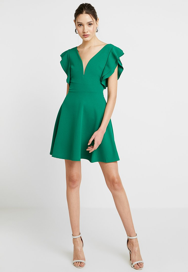 WAL G. - FRILL PLUNGE SKATER DRESS - Jerseykleid - green